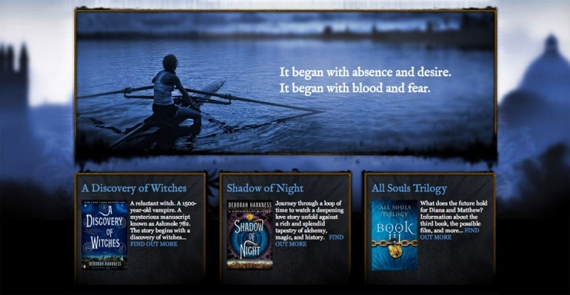 Author website design for Deborah Harkness