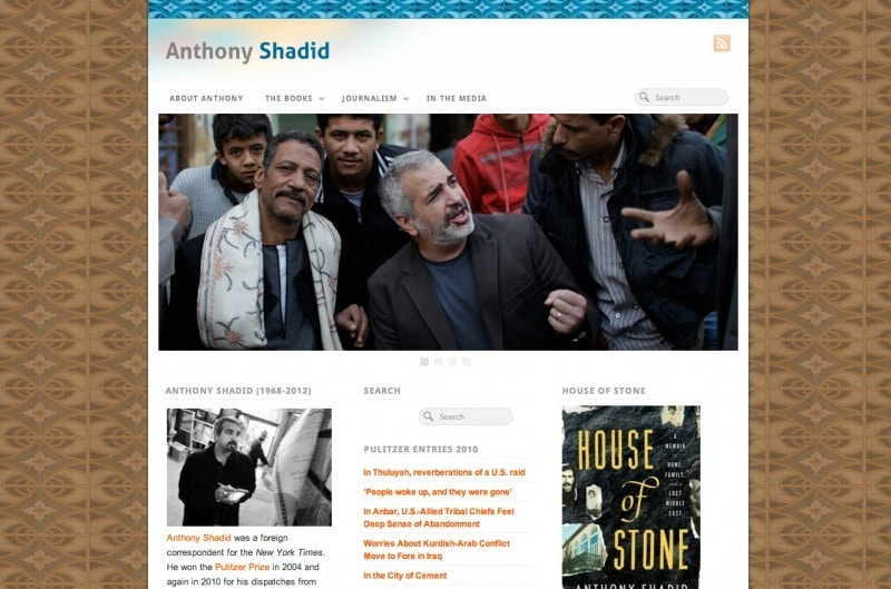 Anthony Shadid author website design