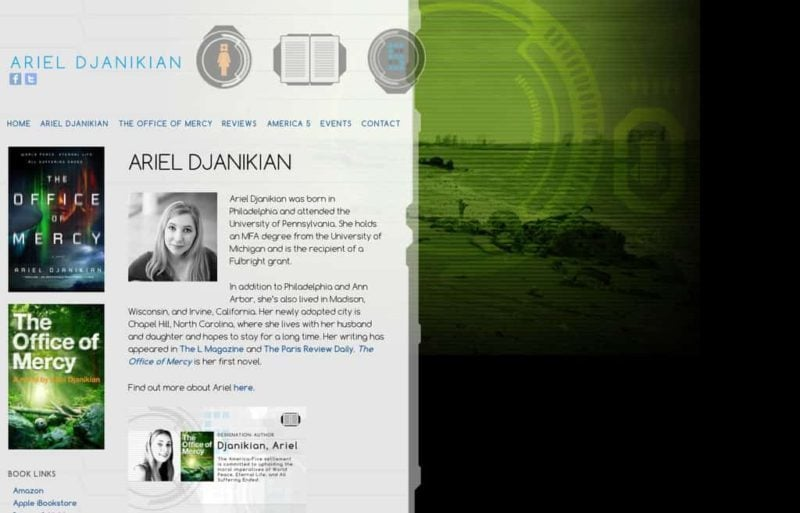 Author website design for Ariel Djanikian by Adrian Kinloch