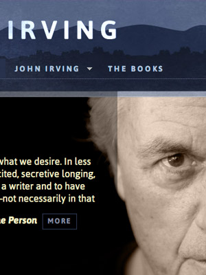 Author website design for John Irving by Adrian Kinloch