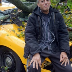 NYC Taxi crushed by Hurricane Sandy
