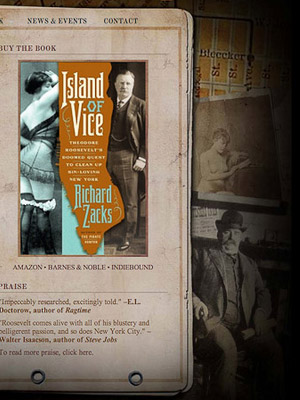 Historic non-fiction author website design for Richard Zacks