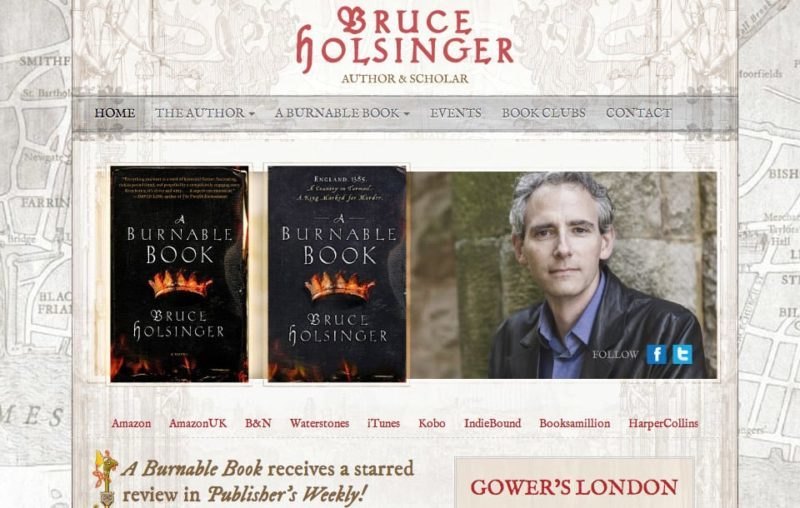 Historical fiction author book website design for Bruce Holsinger
