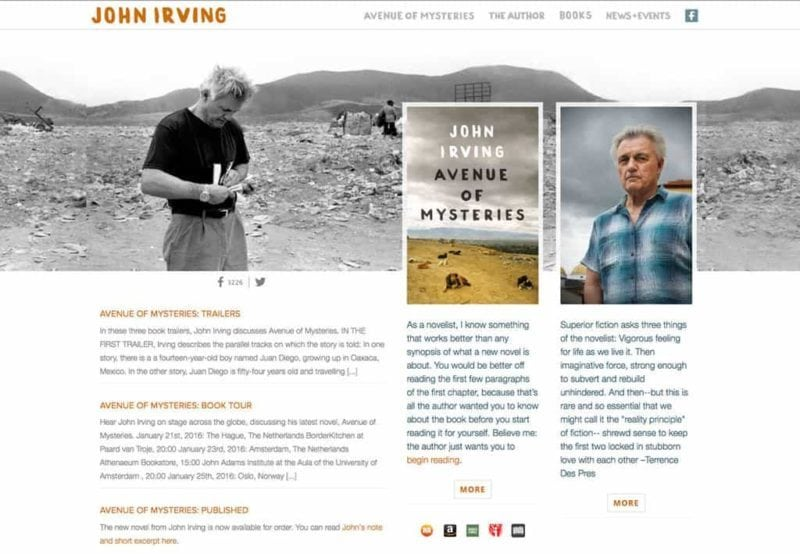 John Irving author website design by Adrian Kinloch