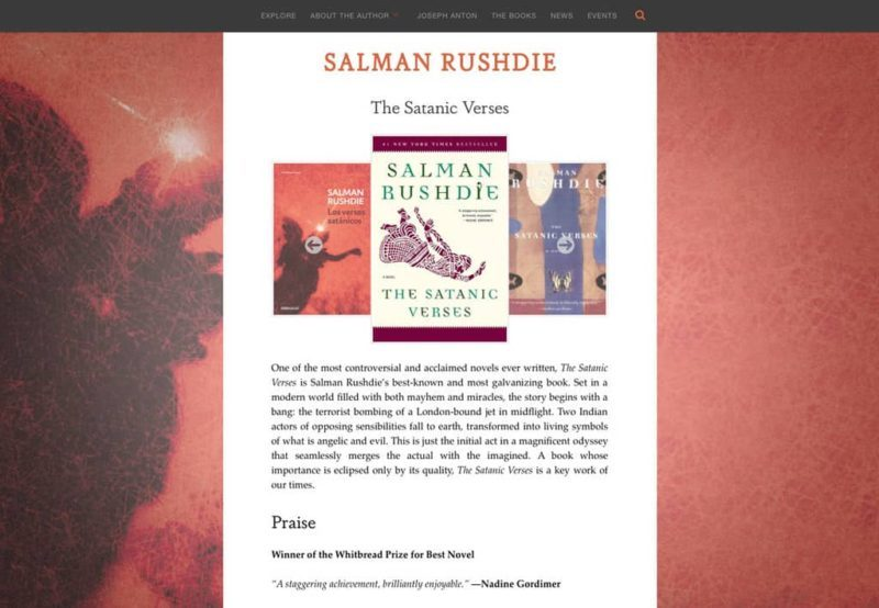 Salman Rushdie author website design by Adrian Kinloch