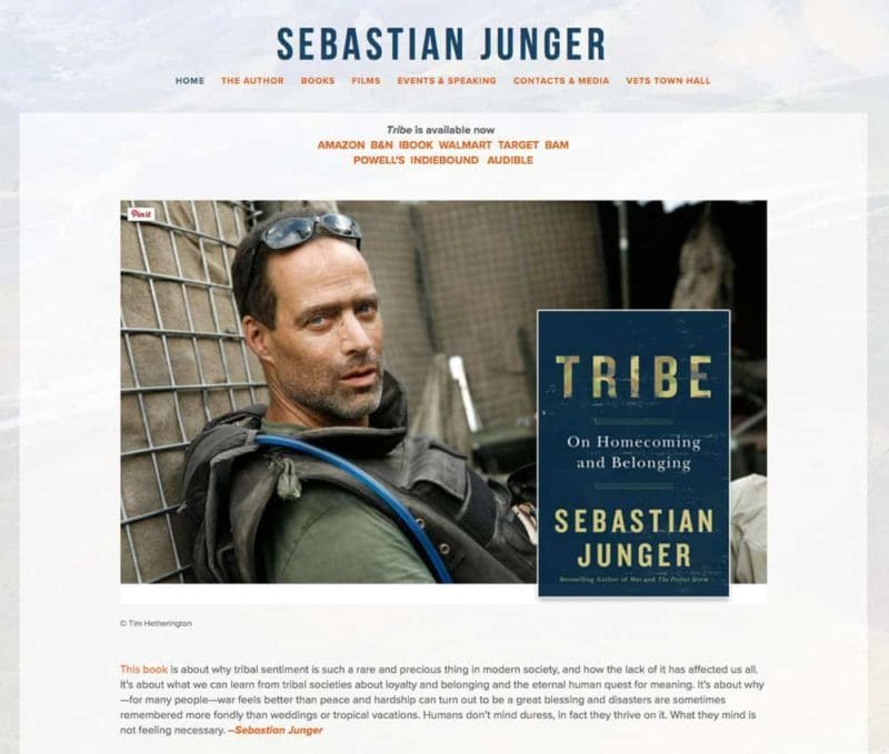 NYC Author website design for Sebastian Junger by Adrian Kinloch
