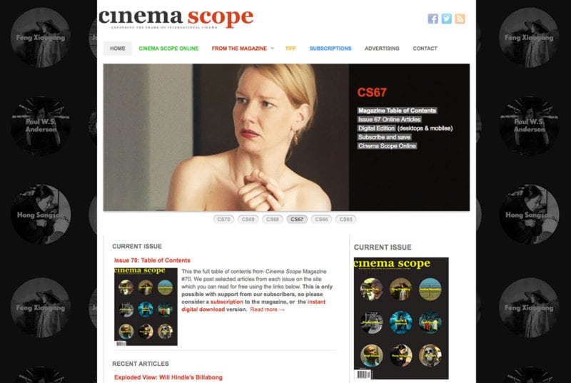 Cinema Scope Magazine online magazine design